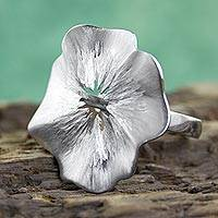 Sterling silver flower ring, 'Cuernavaca Poppy' - Brushed Sterling Silver Handcrafted Flower Ring from Mexico