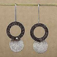 Sterling silver dangle earrings, 'Midnight Eclipses'