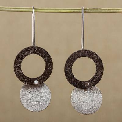 Sterling silver dangle earrings, 'Midnight Eclipses' - Modern Style Sterling Silver Earrings from Mexican Jewelry