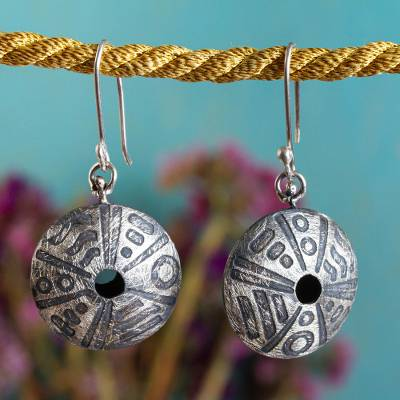 Sterling silver dangle earrings, 'Mandala Movement' - Etched Sterling Silver Earrings Hand Crafted in Mexico