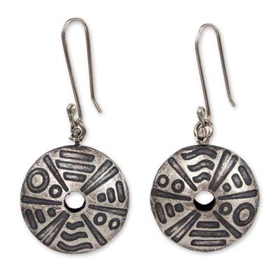 Sterling silver dangle earrings, 'Mandala Movement' - Etched Sterling Silver Earrings Hand Crafted in Mexico