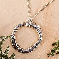 Sterling silver pendant necklace, 'Journey Home' - Mexico Oval Silver Pendant Necklace with Both Chain and Cord
