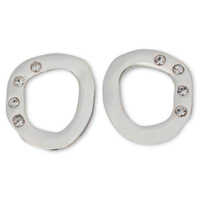 Circular Mexican Silver Button Earrings with Rhinestones