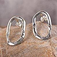 Sterling silver button earrings, 'Homeward Path' - Handcrafted Mexican Silver Oval Earrings with Rhinestones