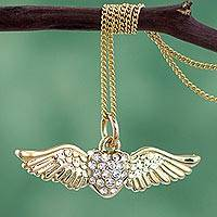 Gold plated heart necklace, 'Love Takes Flight' - Winged Heart 22k Gold Plated Necklace with Rhinestones