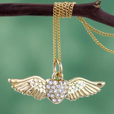 Flying OWL pendant necklace RHINESTONE gold tone animal jewelry gold tone new