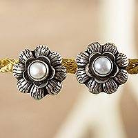 Cultured pearl flower earrings, 'Aztec Sunflowers' - Sterling Silver Flower Earrings with Grey Pearls