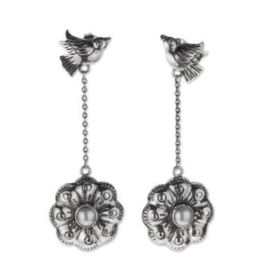 Cultured pearl flower earrings, 'Ode to Friends' - Sterling Silver and Pearl Earrings with Birds and Flowers