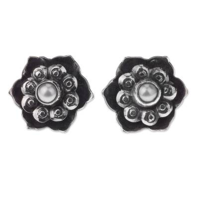 Vintage Style Sterling Silver Flower Earrings with Pearls