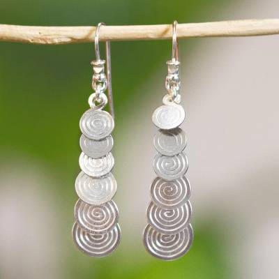 Silver dangle earrings, 'Moving On' - Long Silver Earrings Artisan Crafted Taxco Jewelry