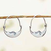 Sterling silver hoop earrings, 'Moon at Rest' - Vintage Style Handcrafted Silver Crescent Moon Hoop Earrings