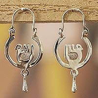 Sterling silver hoop earrings, 'Moonlight Dove' - Mexico Sterling Silver Hoop Earrings with Aztec Bird