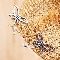 Sterling silver button earrings, 'Modern Dragonfly'