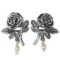 Cultured pearl flower earrings, 'City of Roses' - Artisan Crafted Sterling Rose Earrings with Cultured Pearls