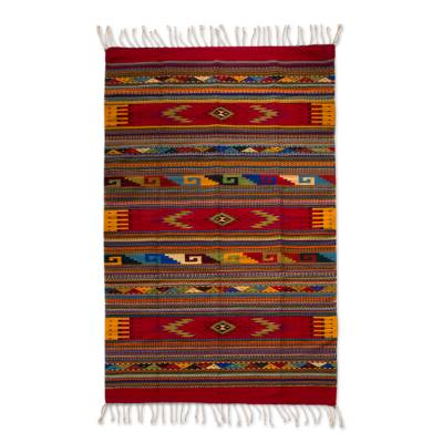 Zapotec wool rug, 'Beautiful Teotitlan' (5x8) - Mexico Handwoven Authentic Zapotec Wool Area Rug (5x8)
