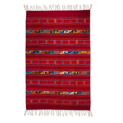 Authentic Geometric Handwoven Zapotec Wool Area Rug (5x8)