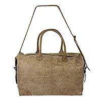 Leather travel bag, 'Taupe Traveler' - Mexican Artisan Crafted Casual Taupe Leather Travel Bag