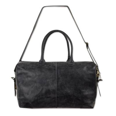 Leather travel bag, 'Charcoal Grey Traveler' - Roomy Weathered Charcoal Leather Travel Bag with Adjustable