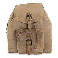Men's leather backpack, 'Taupe Highroad' - Taupe Color Sturdy Men's Leather Backpack from Mexico