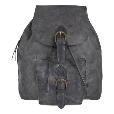 Weathered Charcoal Leather Handcrafted Men