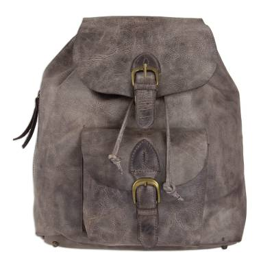 Men's leather backpack, 'Weathered Brown' - Handcrafted Men's Leather Backpack in Weathered Brown
