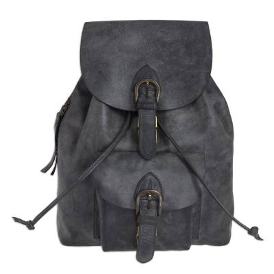Sturdy Dark Grey Leather Backpack from Mexico