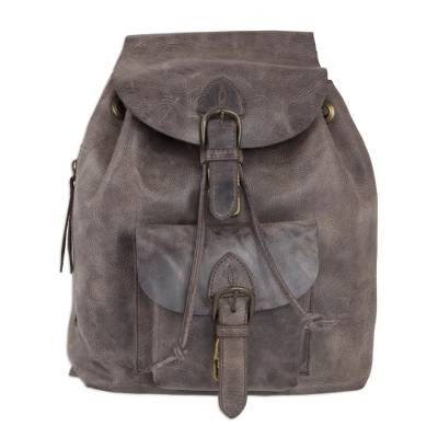 Weathered Brown Leather Backpack from Mexico