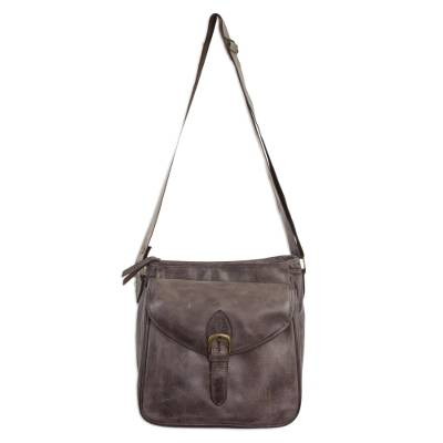 Leather shoulder bag, 'Espresso Freedom' - Crossbody Leather Shoulder Bag with Adjustable Strap and Fab