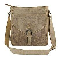 Leather shoulder bag, 'Camel Minimalism'