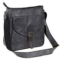 Leather shoulder bag, 'Dark Grey Freedom'