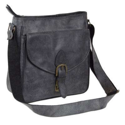 Novica Leather shoulder bag, Dark Grey Freedom