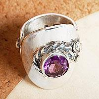 Amethyst wrap ring, 'Precious Lilac' - Artisan Crafted Amethyst and Sterling Silver Wrap Ring