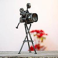 Upcycled auto parts sculpture, 'Vintage Cinema Projector' - Upcycled Metal and Car Parts Sculpture from Mexico