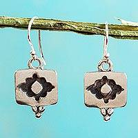 Sterling silver dangle earrings, 'Flower of Infinity' - Handcrafted Mexico Sterling Silver Dangle Earrings