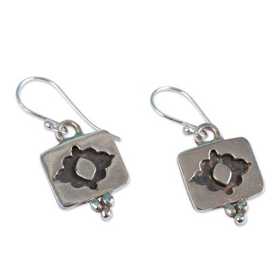 Novica Sterling silver dangle earrings, Flower Eyes