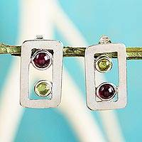 Peridot and garnet button earrings, 'Adrift' - Peridot and Garnet Modern Earrings in Sterling Silver