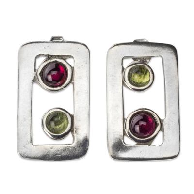 Peridot and Garnet Modern Earrings in Sterling Silver