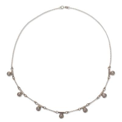 Cultured pearl pendant necklace, 'Seven Moons' - Mexico Sterling Silver Necklace with 7 Mabe Pearls