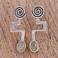 Labradorite drop earrings, 'Light of Energy' - Abstract Sterling Silver Earrings with Labradorite