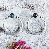 Labradorite drop earrings, 'Mysterious Cosmos' - Modern Mexican Silver Circle Earrings with Labradorite
