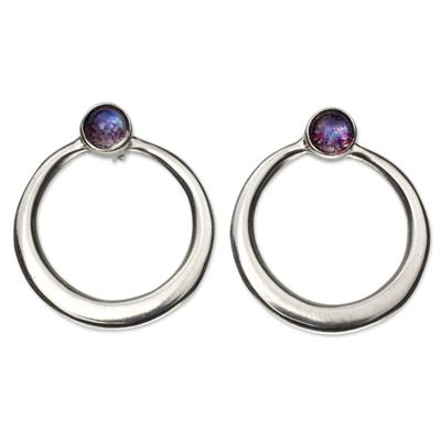 Labradorite drop earrings, 'Mysterious Cosmos' - Modern Mexican Silver Circle Earrings with Labradorite