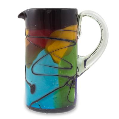 Blown glass pitcher, 'Vizz II' - Hand Crafted Multicolor Blown Glass Pitcher from Mexico