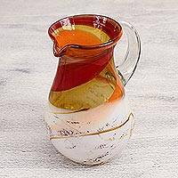 Blown glass pitcher, 'Caramel Fantasy I' - Artisan Crafted Blown Glass Pitcher from Mexico