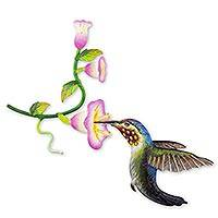 Steel wall art, 'Hummingbird and Hollyhocks' - Handcrafted Bird Metal Art for the Wall