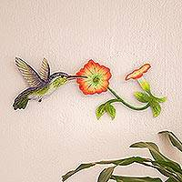 Steel wall art, 'Exotic Nectar in Orange' - Hummingbird and Flowers Steel Wall Art Crafted by Hand