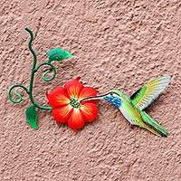 Steel wall art, 'Colibrí' - Hummingbird and Red Flower Steel Wall Art Crafted by Hand