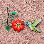 Hummingbird and Red Flower Steel Wall Art Crafted by Hand, 'Exotic Nectar in Red'
