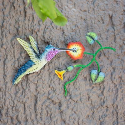 5866754ccb Steel wall art, 'Exotic Nectar in Yellow' - Mexican Hummingbird Steel Wall  Art