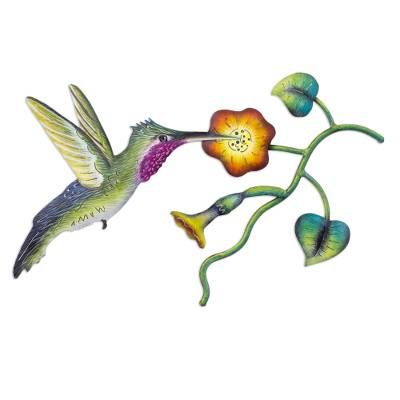 Steel wall art, 'Exotic Nectar in Yellow' - Mexican Hummingbird Steel Wall Art Crafted by Hand