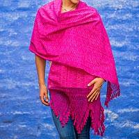 Cotton rebozo shawl, 'Mexican Orchid' - Hand Loomed Pink and White Rebozo Cotton Shawl